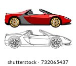 detailed side of a flat red... | Shutterstock .eps vector #732065437