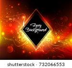 black rhombus banner on a fiery ... | Shutterstock .eps vector #732066553