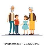 grandparents with grandchildren ... | Shutterstock .eps vector #732070543