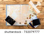 accessories for travel. retro... | Shutterstock . vector #732079777
