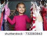 cute preschooler girl has... | Shutterstock . vector #732083863