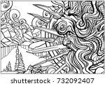 harsh shaman in the lion's hat | Shutterstock .eps vector #732092407