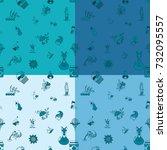 autumn seamless pattern. four... | Shutterstock .eps vector #732095557