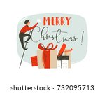 hand drawn vector abstract fun... | Shutterstock .eps vector #732095713