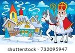 sinterklaas on horse theme... | Shutterstock .eps vector #732095947