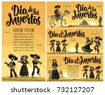 dia de los muertos lettering.... | Shutterstock .eps vector #732127207