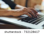 hands typing on laptop... | Shutterstock . vector #732128617