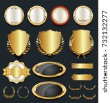 gold and silver shields laurel... | Shutterstock .eps vector #732132277