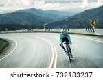 cyclists are cycling  climbing... | Shutterstock . vector #732133237