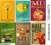 halloween posters set. sweets ... | Shutterstock .eps vector #732148273