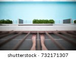 looking down at feet and blue... | Shutterstock . vector #732171307