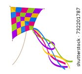 colorful kite isolated on white ... | Shutterstock .eps vector #732201787
