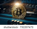 cryptocurrency golden bitcoin... | Shutterstock . vector #732207673