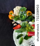 vegetables and ingredients for...   Shutterstock . vector #732208903