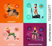 exercise equipment concept with ... | Shutterstock .eps vector #732210577