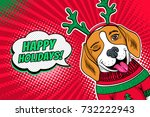 wow pop art dog face. funny... | Shutterstock .eps vector #732222943