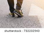 woman wear jeans and sneaker...   Shutterstock . vector #732232543