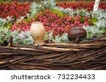 vantage ceramic clay pots... | Shutterstock . vector #732234433