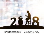 2018 years of robot assistant... | Shutterstock . vector #732243727
