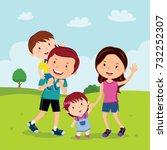 family walking in the park | Shutterstock .eps vector #732252307