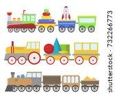 kids train toy vector set gift... | Shutterstock .eps vector #732266773