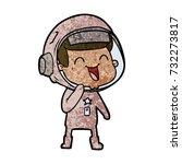happy cartoon astronaut   Shutterstock .eps vector #732273817