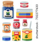 collection of various tins... | Shutterstock .eps vector #732277633