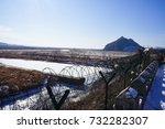 15 feb 2017. yalu river border  ... | Shutterstock . vector #732282307