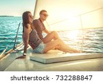 romantic couple in love on sail ... | Shutterstock . vector #732288847
