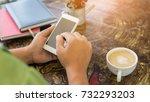 business team working on laptop ... | Shutterstock . vector #732293203
