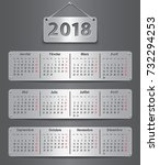 calendar for 2018 year in... | Shutterstock .eps vector #732294253