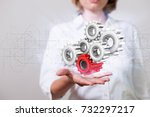 woman with gear wheels and... | Shutterstock . vector #732297217