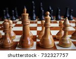 chess game with figures on a... | Shutterstock . vector #732327757