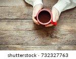 female hands holding red mug of ... | Shutterstock . vector #732327763