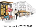 series of the street cafes with ... | Shutterstock .eps vector #732327847