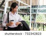businesswoman in a hurry... | Shutterstock . vector #732342823