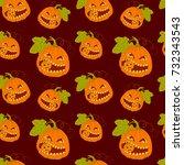 seamless pattern with halloween ... | Shutterstock .eps vector #732343543