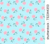 seamless roses pattern. vintage ... | Shutterstock .eps vector #732344353
