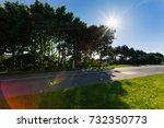 empty asphalt country road... | Shutterstock . vector #732350773