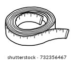 measuring tape   cartoon vector ... | Shutterstock .eps vector #732356467