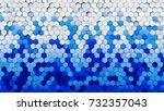 blue white gradient hexagons... | Shutterstock . vector #732357043