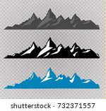 set of black and white mountain ... | Shutterstock .eps vector #732371557