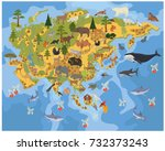 flat asian flora and fauna map... | Shutterstock .eps vector #732373243