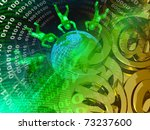 globe  mans and digits against... | Shutterstock . vector #73237600