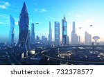future city on the coast.3d... | Shutterstock . vector #732378577