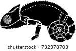 chameleon illustration | Shutterstock . vector #732378703