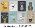christmas animals card set ...   Shutterstock .eps vector #732382267
