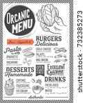 organic menu for restaurant and ... | Shutterstock .eps vector #732385273