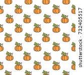 cute pattern with orange... | Shutterstock .eps vector #732405517