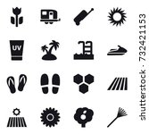 16 vector icon set   trailer ... | Shutterstock .eps vector #732421153